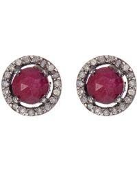 Adornia - Sterling Silver Echo Ruby & Champagne Diamond Halo Stud Earrings - Lyst