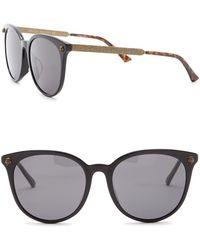 289a7464b19 Lyst - Gucci Oval Sunglasses Gg0075s 003 Gold 0075 in Metallic