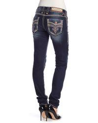 aad41a7a0b Lyst - Rock Revival Skinny Metallic Topstitch Jeans in Blue