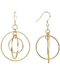 Argento Vivo - 18k Gold Plated Sterling Silver Wire Wrapped & Smooth Triple Circle Drop Earrings - Lyst