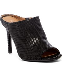Calvin Klein - Nola Snake Embossed Leather High Heel Mule - Lyst