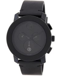 Movado - Men's Bold Leather Watch - Lyst