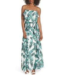 Chelsea28 - Palm Leaf Ruffle Maxi Dress - Lyst
