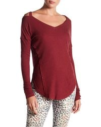 William Rast - Ives Cold Shoulder Thermal Knit Top - Lyst