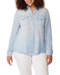 REBEL WILSON X ANGELS - Embroidered Chambray Utility Shirt (plus Size) - Lyst