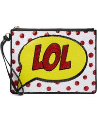 Alice + Olivia | Embellished Lol Graphic Leather Wristlet | Lyst