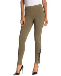 Johnny Was Darielle Embroidered Leggings - Green