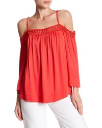 Love Stitch - Woven Cold Shoulder Long Sleeve Blouse - Lyst