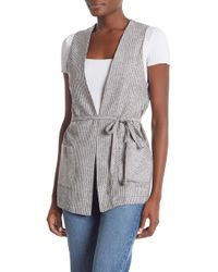 ea0a065a20412 Lyst - Vince Camuto Asymmetrical Drape Front Sweater Vest in Black