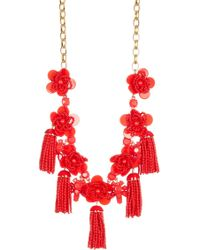 J.Crew | Beaded Tassel Flower Statement Necklace | Lyst