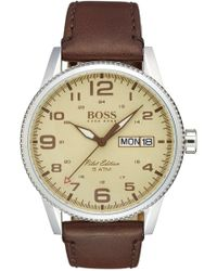 BOSS - 'pilot' Leather Strap Watch, 44mm - Lyst