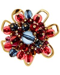 Trina Turk - Beaded Cluster Flower Brooch - Lyst