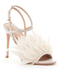 Pour La Victoire - Elexi Feathered Leather Heeled Sandal - Lyst