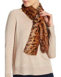 Lafayette 148 New York - Genuine Rabbit Fur Leopard Print Scarf - Lyst
