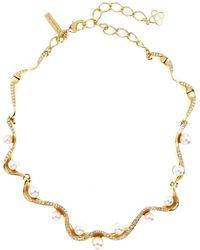 Oscar de la Renta | Imitation Pearl & Swarovski Crystal Embellished Wave Necklace | Lyst