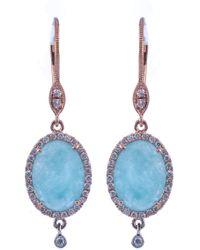 Meira T - 14k Rose Gold Diamond Halo Blue Amazonite Drop Earrings - Lyst