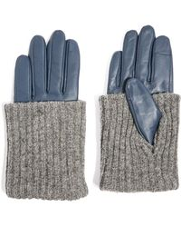 TOPSHOP - Wool-blend Cuff Genuine Leather Gloves - Lyst