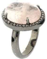 Adornia - Sterling Silver Oval-cut Morganite & Diamond Halo Ring - 0.30 Ctw - Lyst