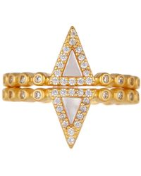 Freida Rothman - 14k Yellow Gold Plated Sterling Silver Pave Cz & Turquoise Stacking Ring - Set Of 2 - Lyst