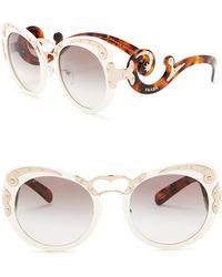 25a4404ebed8 Prada - Minimal Baroque 54mm Round Sunglasses - Lyst