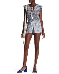 Gypsy 05 - Embroidered Ruffle Sleeve Romper - Lyst