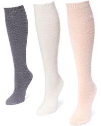 Muk Luks - Fuzzy Yarn Knee High Socks - Pack Of 3 - Lyst