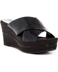 Donald J Pliner - Dani Croco Patent Embossed Leather Crossover Wedge Sandal - Lyst