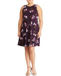 Lauren by Ralph Lauren - Suzan Scattered Poppies Shift Dress (plus Size) - Lyst