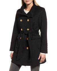 Sofia Cashmere - Wool & Cashmere Blend Military Coat - Lyst
