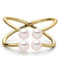 Tara Pearls - 14k Yellow Gold 4-4.5mm Akoya Cultured Pearl Orbit Ring - Lyst