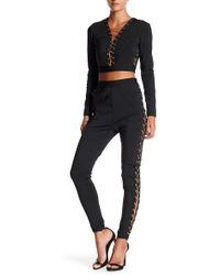 Wow Couture - Lace Up Chain Link 2-piece Pants/top Set - Lyst