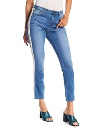 Romeo and Juliet Couture - Faux Pearl Embellished Straight Leg Ankle Jeans - Lyst