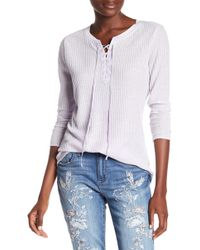 Seven7 | Lace Up Waffle Knit Shirt | Lyst