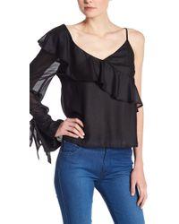 Lush - One Shoulder Ruffle Sleeve Blouse - Lyst