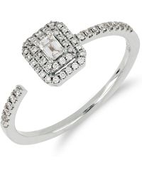 Bony Levy - 18k White Gold Faceted Baguette & Halo Set Diamond Detail Open Ring - 0.30 Ctw - Lyst