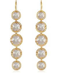 Melinda Maria - Tessa Mother Of Pearl & Pave Cz Halo Linear Drop Earrings - Lyst