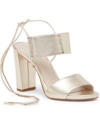 Kenneth Cole - Dess Block Heel Leather Sandal - Lyst