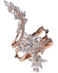 CZ by Kenneth Jay Lane - Cz Flower Stacked Ring - Lyst