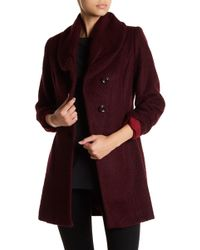 Cece by Cynthia Steffe - Josie Shawl Neck Boucle Long Coat - Lyst
