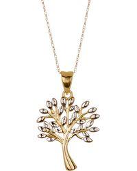 KARAT RUSH - 10k Two-tone Gold Tree Pendant Necklace - Lyst