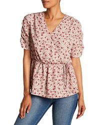Pleione - Printed Wrap Style Blouse - Lyst
