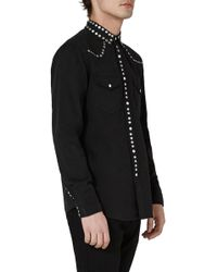 TOPMAN - Muscle Fit Studded Western Shirt - Lyst