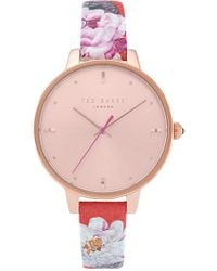 4562ee503be Lyst - Ted Baker Women s Mini Jewels Leather Watch