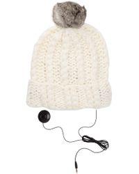 Rebecca Minkoff - Genuine Rabbit Fur Pompom Hand Knit Cable Beanie - Lyst