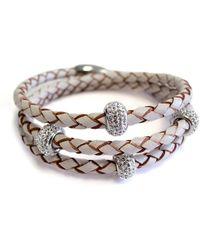 Liza Schwartz - Sterling Silver Bedazzle Triple Wrap White Premium Leather Bracelet - Lyst