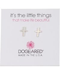 Dogeared - Sterling Silver 'it's The Little Things' Cross Stud Earrings - Lyst