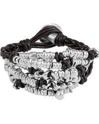 Uno De 50 Cheetah Beaded Cluster Braided Leather Bracelet