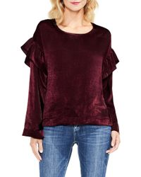 Two By Vince Camuto - Ruffle Sleeve Satin Top - Lyst