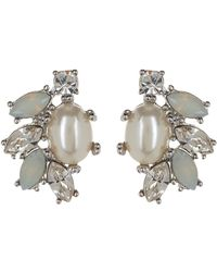 Marchesa - Simulated Pearl & Crystal Button Cluster Earrings - Lyst
