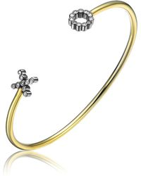 Genevive Jewelry - Gold Plated Sterling Silver Hug & Kiss Cz Bezel Bangle Bracelet - Lyst
